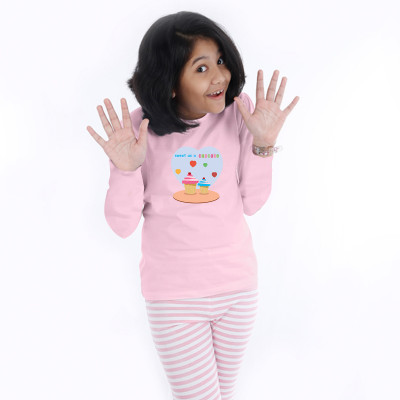 Pink Full Sleeve Girls Pyjama- Cuppy Cake